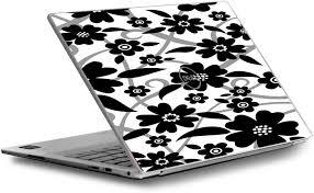 Amazon Com Skins Decals For Dell Xps 13 9370 9360 9350 Laptop Vinyl Wrap Cover Black White Flower Print Computers Accessories