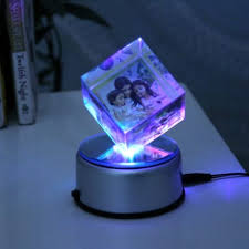 rotating crystal cube with led