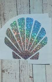 Seashell Silver Holographic Vinyl Decal 3 5 H Car Tumbler Mug Cup Tablet Sequins Ebay