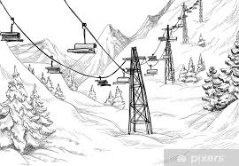 Mountain Ski Lift Chairs Pencil Drawing Wall Mural Pixers We Live To Change