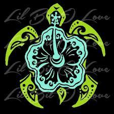 Hibiscus Sea Turtle Tribal Vinyl Decal In 2 Colors Beach Tortoise Car Hawaiian Tattoo Sea Turtle Vinyl Decals