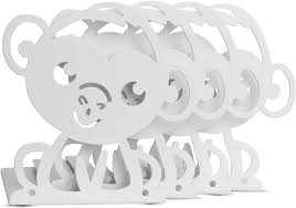 Amazon Com Wallniture Bookends Nursery And Kids Room Book Holder Organizer Animal Themed Floating Shelf Nonskid Metal White Set Of 4 Home Kitchen