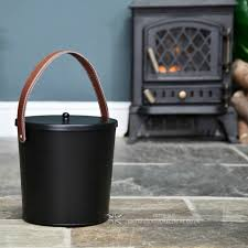 modern black ash bucket with leather