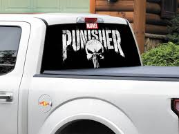 Product Punisher Logo Marvel Comics Rear Window Decal Sticker Pick Up Truck Suv Car Any Size Rear Window Decals Punisher Logo Rear Window