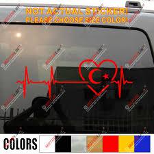 Love Turkey Turkish Flag Crescent Decal Sticker Car Vinyl Heart Beat Ekg Car Stickers Aliexpress