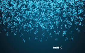 تحميل خلفيات ملاحظات الجاذبية الموسيقى سقوط خلفية زرقاء داكنة
