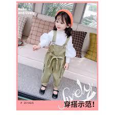 Set áo tay dài và quần yếm thời trang cao cấp cho bé gái