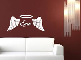 2016 Hot Fashionable Personalized Angel Wings Halo Customized Name Vinyl Wall Decor Art Sticker Decal You Choose Name Color Stickers Coffee Sticker Boxsticker Wall Decor Aliexpress