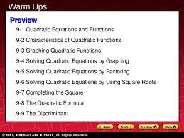 9 1 quadratic equations and functions 9