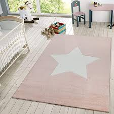 Amazon Com Area Rug For Kids Room Or Living Room Star Design With Modern Pastel Colors Low Pile Size 2 8 X 4 11 Colour Pink Home Kitchen