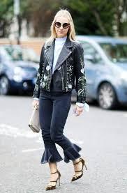 printed leather jacket high heels