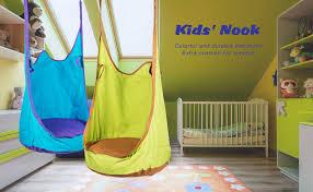 Amazon Com Co Z Kids Pod Swing Seat Child Hanging Hammock Chair Indoor Outdoor Kid Hammock Seat Pod Nook Upgraded Two Straps Blue Garden Outdoor
