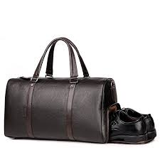men leather gym bag travel duffels