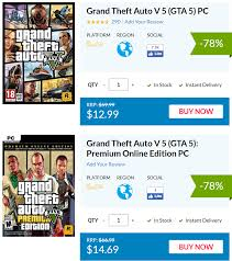 เกมถูกบอกด้วย v.2 - https://www.cdkeys.com/catalogsearch/result/?q=Grand+ Theft+Auto+V+&mw_aref=goodgamecheap Grand Theft Auto V (คีย์ Rockstar  ไม่ใช่ Steam) กำลังลดราคาใน cdkeys ตามรายการดังนี้ .  https://www.cdkeys.com/pc/games/grand-theft-auto-v-5-pc ...