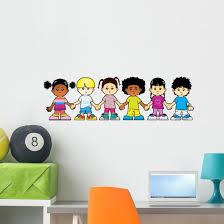 Children World Holding Hands Wall Decal Wallmonkeys Com