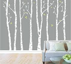 Amazon Com Designyours Set Of 8 Birch Tree Wall Decal Nursery Big White Tree Wall Deacl Vinyl Tree Wall Decals For Kids Rooms With Fliying Birds Wall Art Decor Baby