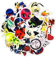 Amazon Com 30pcs Pack Miraculous Ladybug Stickers Set Funny Stickers For Kids Luggage Skateboard Laptop Cartoon Anime Stickers For Children Kitchen Dining