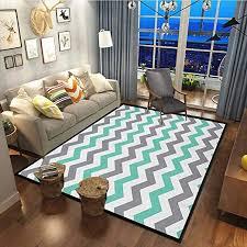 Amazon Com Chevron Soft Area Rugs For Man Boys Dorm Nursery Kids Room Chevron Pattern Geometric Wavy Zigzag Herringbone Stripes Illustration Seafoam Grey White63x90 Inch Kitchen Dining