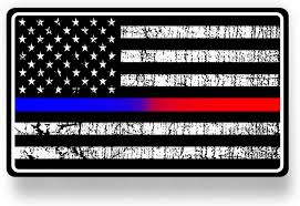 Amazon Com Vinyl Junkie Graphics Police And Fire Dept Blue Red Line American Flag Sticker Decal Automotive