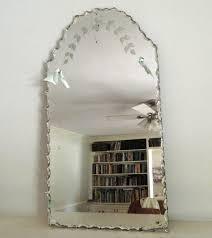 vintage etched beveled mirror frameless