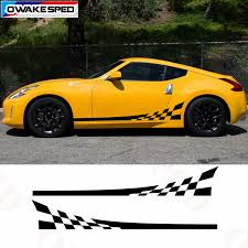 For Nissan 370z Racing Lattices Sport Stripes Decal Car Door Side Sticker Exterior Accessories Waterproof Decals Car Stickers Aliexpress