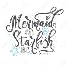Bedroom Bathroom Mermaid Kisses Starfish Wishes Vinyl Wall Decal Quotes