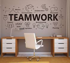 Large Teamwork Office Wall Decal Inspirational Quote Teamwork Cooperation Plan Vinyl Wall Sticker For Office Decoration Z819 Wall Stickers Aliexpress