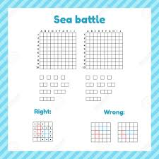 Game For Kids. Sea Battle. Template Page With Form And Elements ...