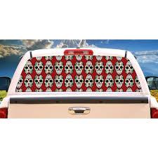 Sugar Skull Rear Window Graphic Truck View Thru Vinyl Decal Back Walmart Com Walmart Com
