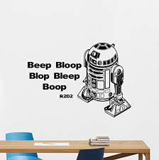 Amazon Com Star Wars R2 D2 Wall Decal R2d2 Droid Robot Character Beep Bloop Bleep Blop Sste Wall Decals Lettering Vinyl Sticker Kids Wall Art Design Bedroom Nursery Wall Decor Stencil Wall Mural 64ps