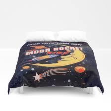 rocket moon ride vintage duvet cover