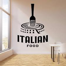 Logo Wall Decal Italian Food Pasta Door Window Vinyl Stickers Italy Restaurant Dining Room Kitchen Interior Decor Wallpaper E767 Wall Stickers Aliexpress