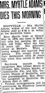 Obituary for Myrtle Adams - Newspapers.com