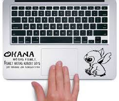Amazon Com Stitch Ohana Means Family Apple Macbook Trackpad Keyboard Decal Sticker Black Computers Accessories