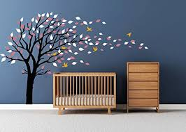 Luckkyy Tree Blowing In The Wind Tree Wall Decals Wall Sticker Vinyl Art Kids Rooms Teen Girls Boys Wallpaper Murals Sticker Wall Stickers Nursery Decor Nursery Decals Black White Baby B077hdm1vz