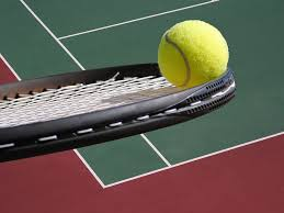 tennis ball in black lawn tennis racket