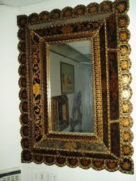 mirror reverse painted glass in black