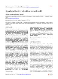 PDF) Grand-multiparity: Is it still an obstetric risk?