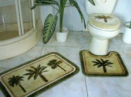 tropical green palm tree bathroom
