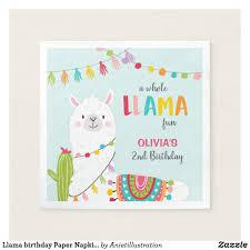 Llama Birthday Paper Napkins Alpaca Fiesta Cactus Zazzle Com Tarjeta De Cumple Bolsitas Para Cumpleanos Cumpleanos Ninos