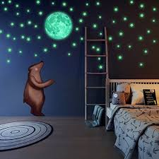 Amazon Com Glow In The Dark Stars And Full Moon 472 Wall Decals Big Moon Decor For Kids Bedroom Galaxy Space Outer Theme For Ceiling Classroom Boys And Girls Home Kitchen
