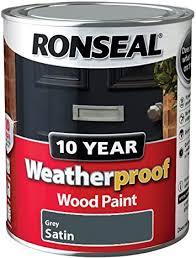 Ronseal Wpgs750 750 Ml 10 Year Weatherproof Satin Finish Exterior Wood Paint Grey Amazon Co Uk Diy Tools
