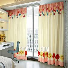 Cute Oriental Best Kids Room Yellow And Pink Rooster Curtains