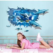 Shop 3d Ocean Dolphins Wall Sticker Art Decal Vinyl Mural Bathroom Decor Blue 60 90cm Online From Best Wall Stickers Murals On Jd Com Global Site Joybuy Com