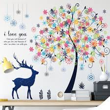 Best Offer Fc1081 Colorful Flower Tree Deer Wall Stickers For Kids Room Decor Removable Vinyl Decals Diy Christmas Decoration Posters Cicig Co