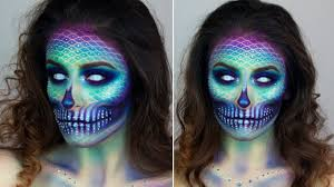 mermaid skull halloween make up