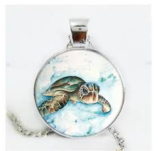 sea turtle cabochon glass silver black