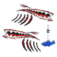 Parts Accessories 2pcs Shark Teeth Mouth Stickers Kayak Boat Decal Floating Keyring Graphics Decals Planetareciclado Com