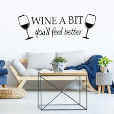 Wine A Bit Paper Removable Pvc Wall Sticker Diy Art Decals For Home Office Decoration Black Walmart Com Walmart Com
