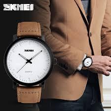 brown leather strap watches men quartz